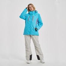 נשים סקי חליפת מותגים באיכות גבוהה סט עמיד למים חם 30 תואר סקי מעיל ומכנסיים חורף חיצוני סנובורד חליפות