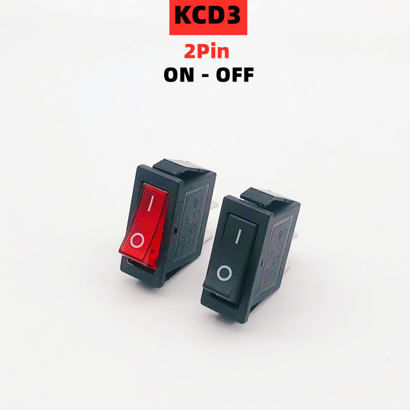 1pcs KCD3 Rocker Switch ON-OFF 2Position 2Pin Electrical equipment Power Switch 15A 250VAC/ 20A 125VAC NO LED Boat mini buttons