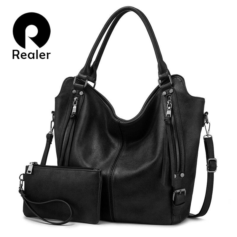 Realer Bag Set Women Handbag Shoulder Bag Female Bag Purse Luxury Designer PU Leather For Ladies Totes Large Capacity
