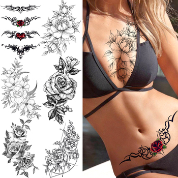 YURAN Black Tulip Totem Tattoos Stickers Women Body Waist Arm Art Bracelet Tattoos Temporary Girls Butterfly Tatoos Rose Chains