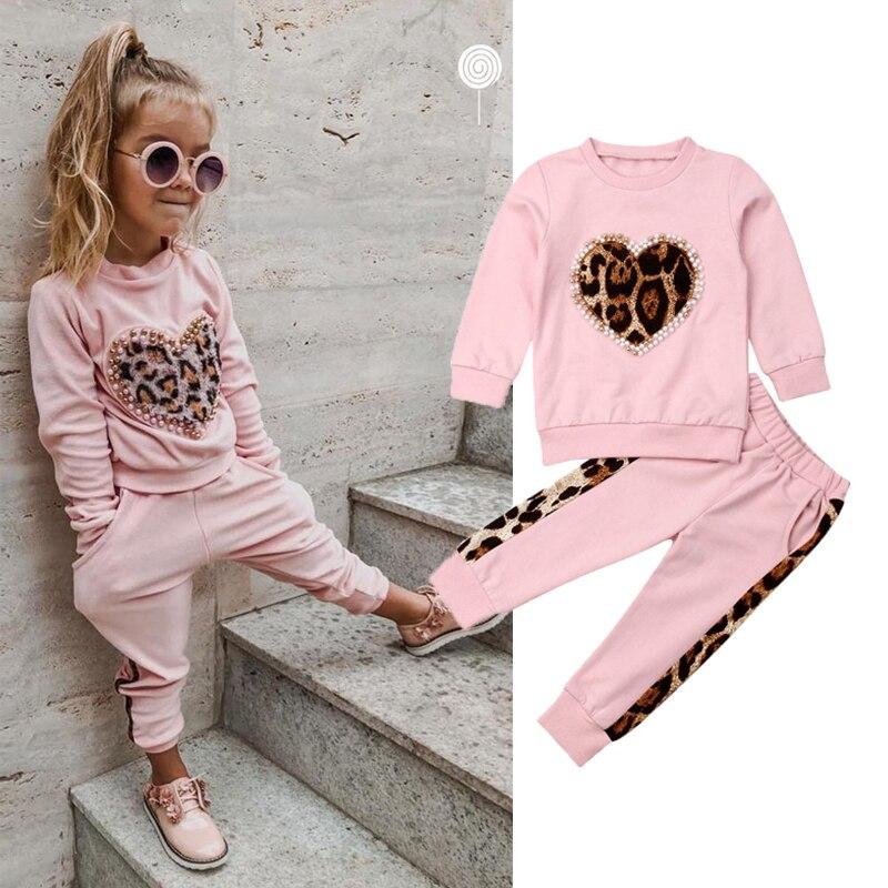 1-5 年秋冬幼児の子供の女の服トラックスーツセットピンク長袖 Leopard はロングパンツ衣装