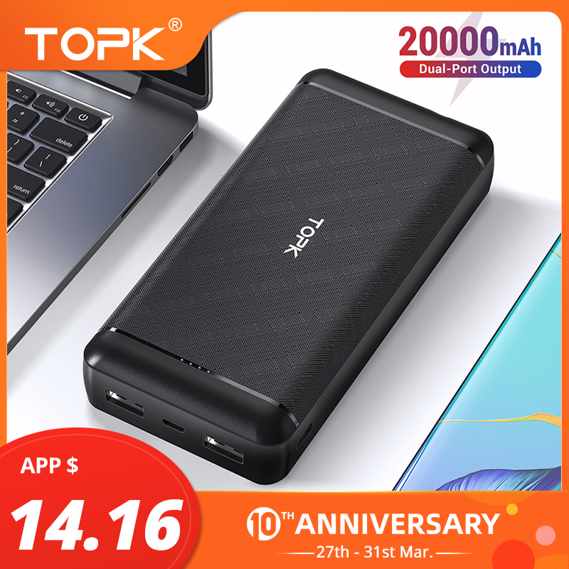 TOPK Power Bank 20000mAh Portable Charging Powerbank External Battery Fast Charge PoverBank For IPhone Xiaomi Samsung Phone