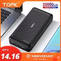 TOPK Power Bank 20000mAh przenośne ładowanie Powerbank bateria zewnętrzna szybkie ładowanie PoverBank dla iPhone Xiaomi Samsung telefon w Powerbank od Telefony komórkowe i telekomunikacja na
