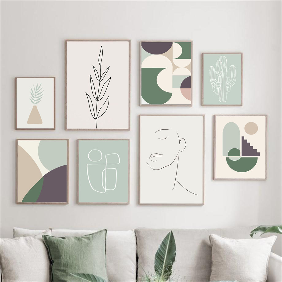 Abstract Shape Girl Line Leaf Cactus Nordic Posters And Prints Wall Art Canvas Painting Wall Pictures For Living Room Decor