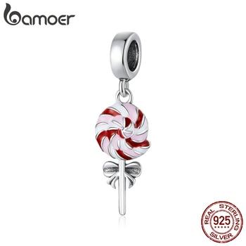 Bamoer Enamel Lollipop Pendant Charm For Women Original Bracelet Or Necklace 925 Sterling Silver Jewelry Making Beads SCC1491