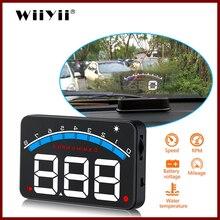 شاشة 3.5 بوصة من Geyiren شاشة HUD لسيارات OBD II HUD شاشة عرض علوي M6 شاشة عرض لدرجة حرارة الماء إنذار فولطية إلكترونية أتوماتيكية DC12V Hud
