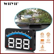 Geyiren Pantalla de 3,5 pulgadas HUD Car OBD II HUD Head Up, pantalla M6, alarma de voltaje electrónico automático de temperatura del agua, DC12V Hud