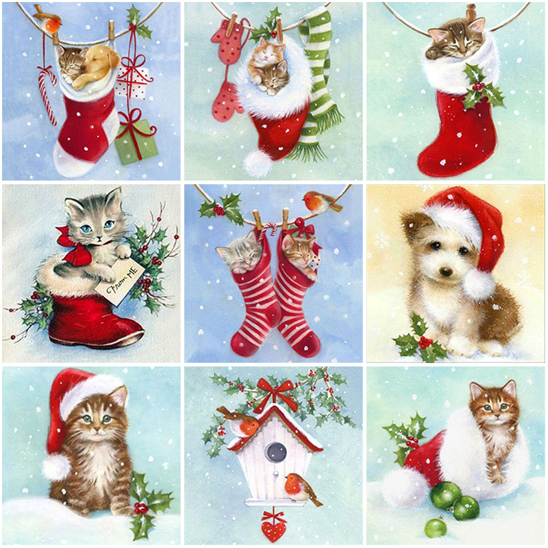 Diy 5d diamond painting christmas socks embroidery full round