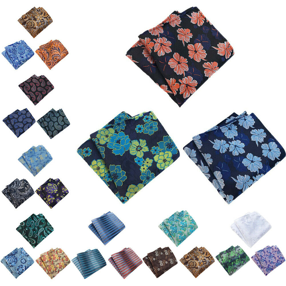3 Packs Men's Paisley Floral Pocket Square Handkerchief Wedding Party Hanky BWTHZ0358