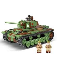 726 piezas militares Rusia KV-1 bloques de construcción de tanques compatible legoing WW2 militar tanque soldados figuras piezas de armas ladrillos