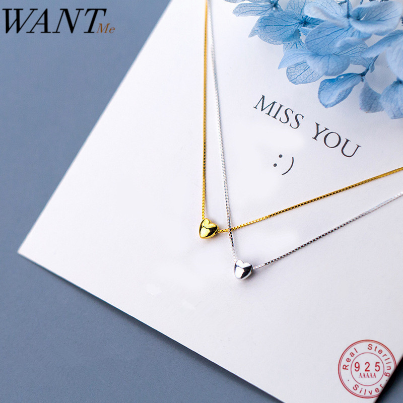 WANTME Real 100% 925 Sterling Silver Minimalist Glossy Mini Love Heart Pendant Necklace for Women Office Party Jewelry Teen Gift