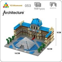 YZ 054 World Famous Architecture Paris Louvre Museum 3D Model Mini Diamond Building Small Blocks Bricks Toy for Children no Box