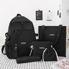 5 Piece Set School Bags For Teenage Girls Women Backpack Canvas Travel Bagpack Women Notebook Bookbags Teen Student Schoolbag