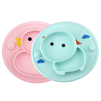 Baby Silicone Plate Set Self-Feeding Antislip Saucer Suction Children's Tableware Silicone Dish for Baby-Led Weaning 9 Months+
