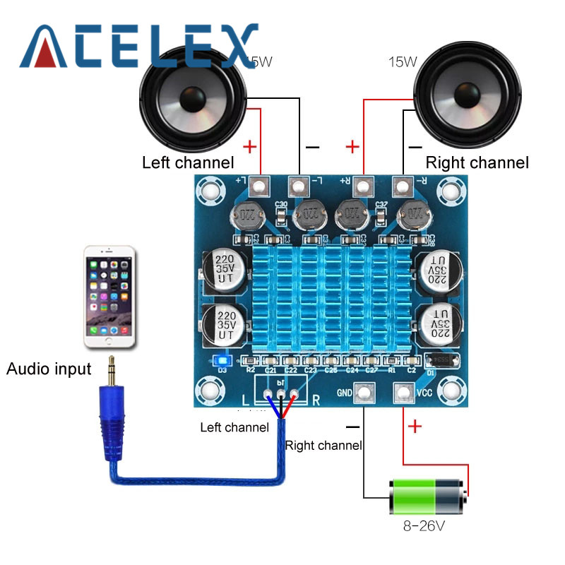 TPA3110 XH A232 30 Вт + 30 Вт 2,0 канальный цифровой стерео аудио усилитель мощности плата DC 8 26 в 3A|Детали и аксессуары для приборов|   | АлиЭкспресс