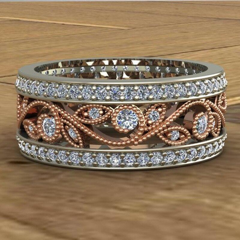 Новинка, кольца из розового золота для женщин, полностью Кристальное обручальное кольцо из Стразы для дам, Женские аксессуары, кольца на палец, ювелирное изделие, подарок - Цвет основного камня: 12