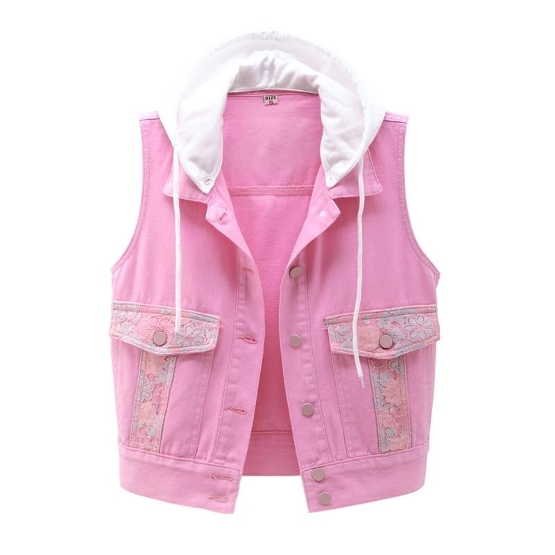 Vintage Denim Vest Women Hooded 2020 Spring Autumn New Fashion Slim Sleeveless Jacket Single-Breasted Short Jeans Waistcoat G222