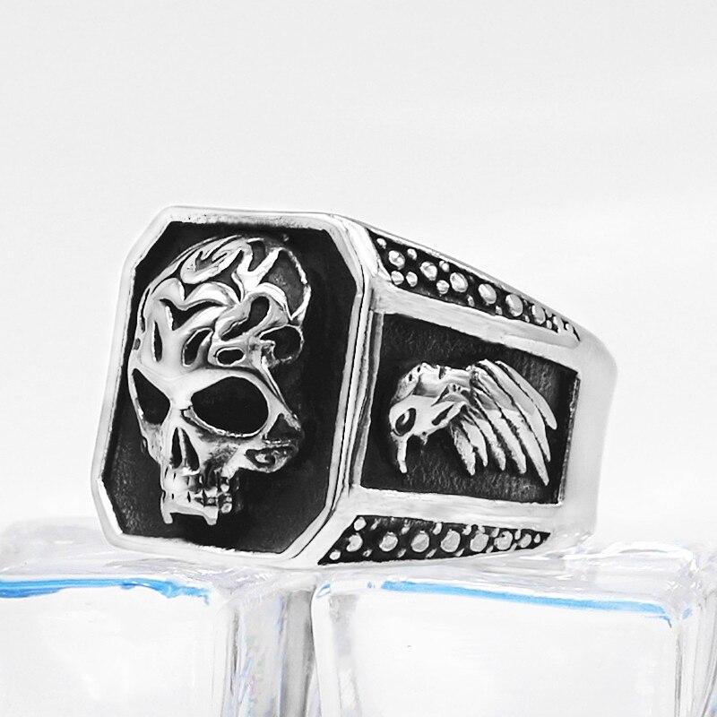 Bague crâne viking acier inoxydable 3
