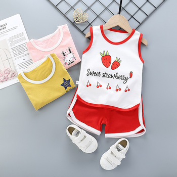 Summer Toddler Boy Girl Clothes Baby Boys Cotton Vest+Shorts 2 Pcs Sets Kids Clothes Boys Girls Cartoon Vest Sleeveless T Shirts