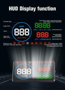 Image 3 - Автомобильный дисплей WiiYii M9 HUD, проектор на лобовое стекло 5,5 дюйма, OBD2, дисплей данных о вождении автомобиля, скорость об/мин, расход топлива, сигнализация безопасности