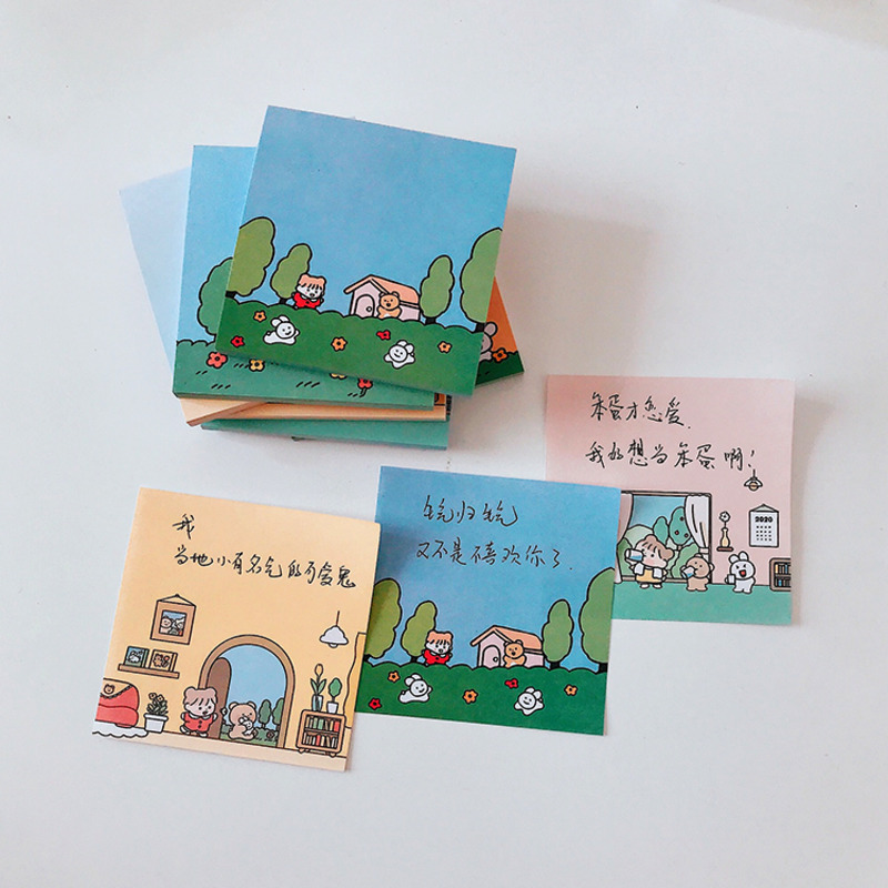 50 Sheets/book Korean Cute Little Girl Daily Cartoon Note Book Loose-leaf Planner Memo Kawaii Stationery School Supplies