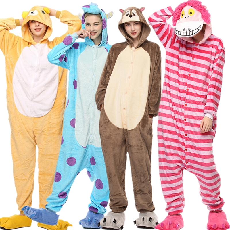 2019 Winter Kigurumi Onesies Adult Unicorn Stitch Flannel Pajamas Suit Cosplay Party Nightie Warm Animal Sleepwear Pajama