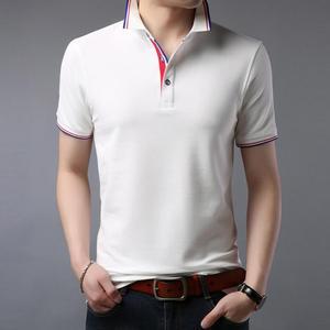 Рубашка-поло LJ486 мужская с короткими рукавами, хлопок, Повседневная сорочка-поло из дышащего материала, одежда в деловом стиле, лето