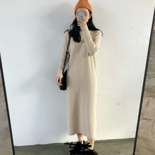 Winter Ladies High Neck Knitted Long Sleeve Casual Mid-Length Solid Color Loose Sweater Dress