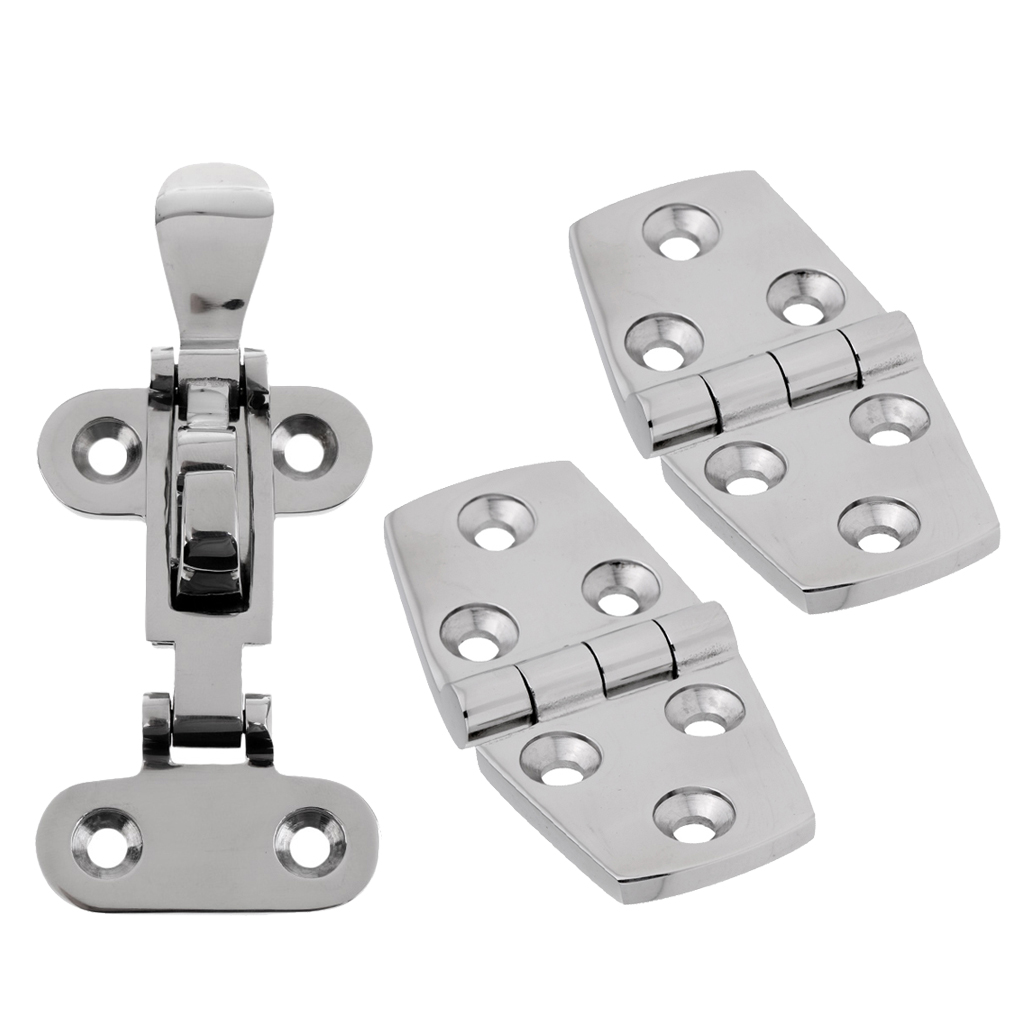 316 Stainless Steel Marine Boat Hardware Anti-Rattle Latch + 1 Pair Hinges Marine Anti-Rattle Latch Boat Door Strap Hinge