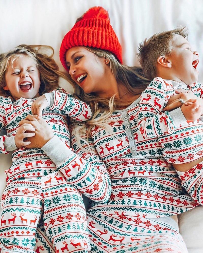 Family Match Christmas Pajamas Set 2019 New Xmas Hot Sale Mum Dad Kid Baby Sleepwear Nightwear Homewear Family Matching Pjs Set