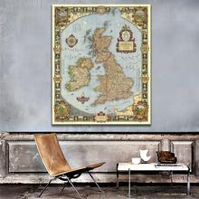 A2 Size Vintage Kingdom of Great Britain Map in 1937 HD Fine Canvas Decpr For Living Room/Study Room Wall Decor