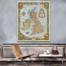 Винтажная карта Великобритании размера a2 изящная холщовая decpr