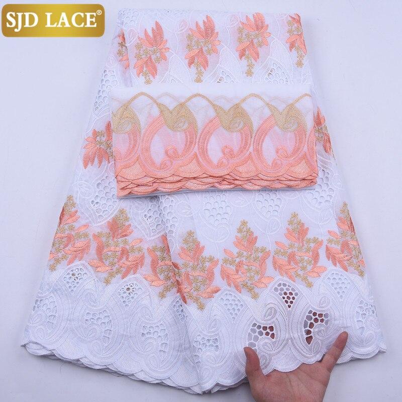 SJD dantel afrika dantel kumaş ile Headcloth yüksek kaliteli İsviçre vual dantel küçük delikler Dubai danteller 5 metre + 2 metre WeddingA1929