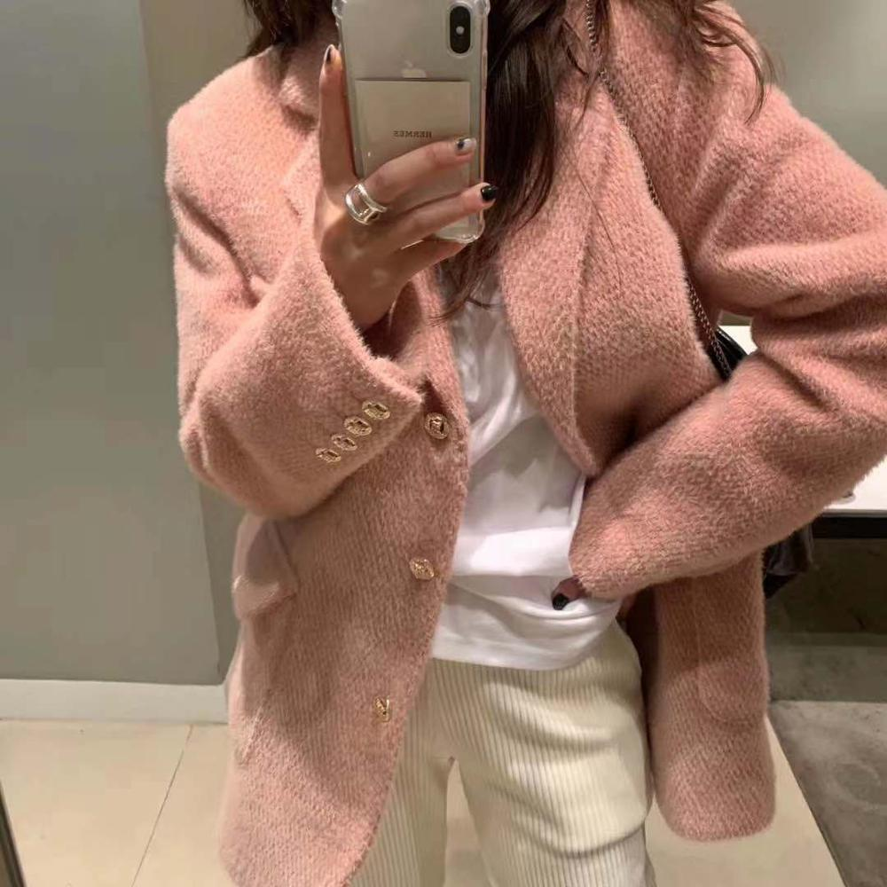 HziriP Elegant Women Blazers Vintage Long Sleeve Autumn Winter Thick Warm Plush Blazer Jackets Office Ladies Coats Good Quality