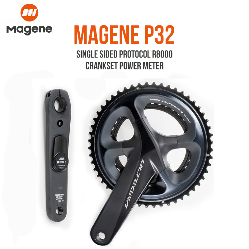 magene P32 Power Meter SHIMANO ULTEGRA R8000 Road Bike Chargeable POWER Crankset Single Drive-Side With Chainrings