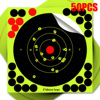 50 Pcs Target Paper Fluorescent Green Gun Shooting Target Shooting Sticker Practice Reactive Splash Shooting Rifle Sticker