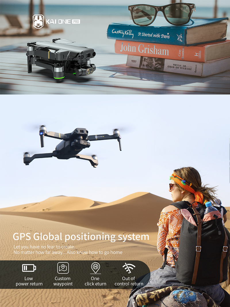 KAI ONE Pro Professional Drone 8k HD Mechanical 3-Axis Gimbal Dual Camera 5G Wifi GPS