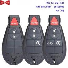KEYECU for Jeep Cherokee 2014 2015 2015 2017 2018 2019 Fobik Remote Key Fob GQ4 53T 433MHz 4A Chip 68105083 68105081