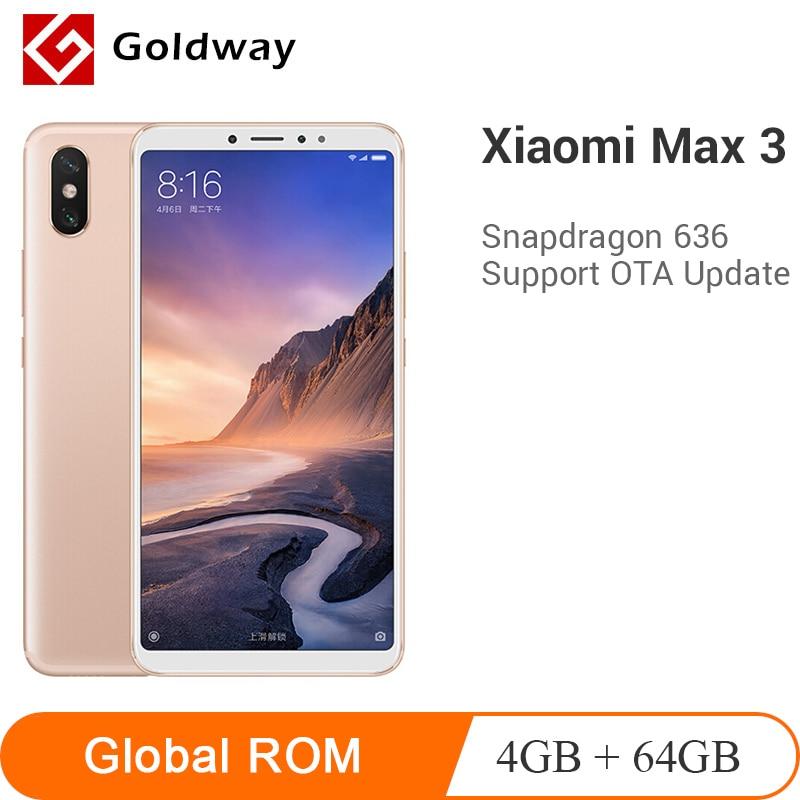 "Original Xiaomi Mi Max 3 4GB RAM 64GB ROM Mobile Phone 6.9"" Full Screen Snapdragon 636 Octa Core 5500mAh 12MP+5MP Dual Camera"