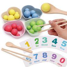 1Set Baby Wooden Practice Chopsticks Toys Mathematics Enlightenment for Kids Clip Ball Child Math Children Birthday Gif