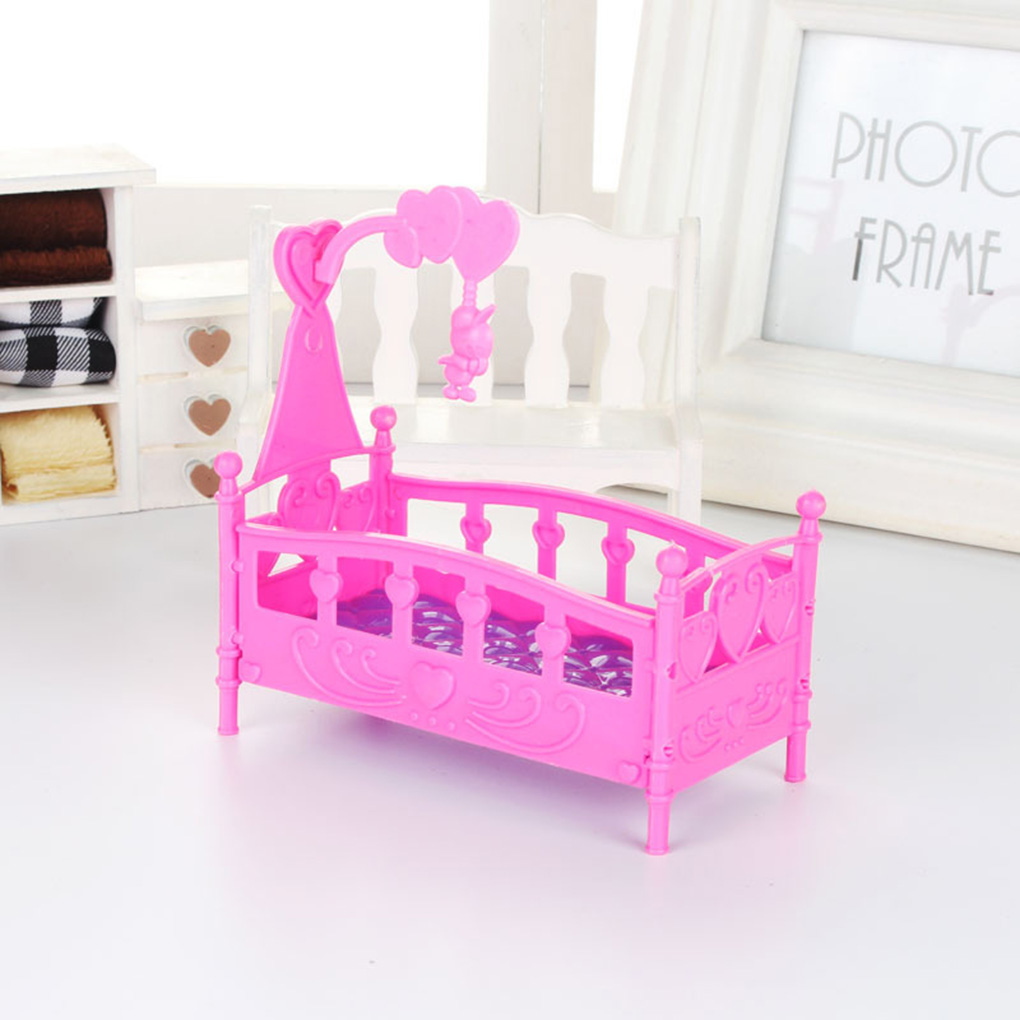 Mini Cradle Bed Doll House Toy Furniture Dollhouse Accessories Plastic Miniature Girls Toy Random Color Gifts