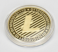 Gold/Silver-Plated Litecoin Coin Cryptocurrency Metal Commemoration Gift 40mm