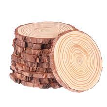 WINOMO 10 sztuk 10-12CM naturalne drewniane elementy dyski niedokończone naturalne drewno okrągłe plastry koła dla DIY rzemiosło Wedding Decor tanie tanio Niedokończone Drewna Wood slices Wood discs Log slices DIY wood slices Unfinished Natural Round Wood Slices Circles