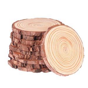 Image 1 - WINOMO 10pcs 10 12 ซม.ธรรมชาติไม้แผ่นเข้าสู่ระบบแผ่นที่ยังไม่เสร็จไม้ธรรมชาติรอบชิ้นวงกลมสำหรับ DIY งานฝีมืองานแต่งงาน Decor