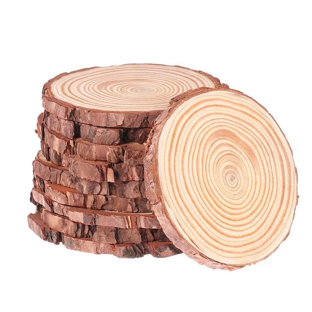 WINOMO 10pcs 10 12 ซม.ธรรมชาติไม้แผ่นเข้าสู่ระบบแผ่นที่ยังไม่เสร็จไม้ธรรมชาติรอบชิ้นวงกลมสำหรับ DIY งานฝีมืองานแต่งงาน Decor