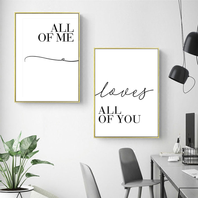 2 Panels Scandinavian Minimalist Black And White Wall Art Poster Canvas Painting Love Quote Wall Pictures for Living Room Decor