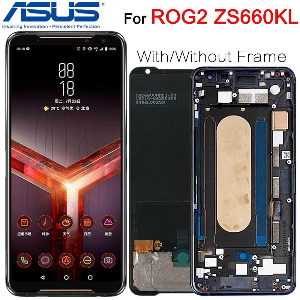 "Original สำหรับ 6.59 ""ASUS ROG โทรศัพท์ 2 Phone2 PhoneⅡ ZS660KL AMOLED หน้าจอ LCD + TOUCH Digitizer ASSEMBLY ซ่อมแซม"