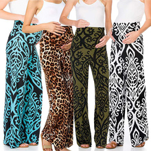Summer Maternal Pants Women's Sexy Bohemian Print Leopard Pregnant Women Wide Leg Pants Cute Mom Maternity High Waist Trousers