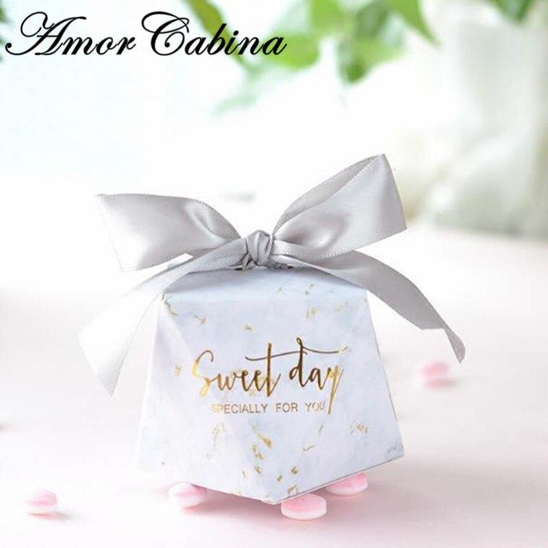 50pcs diamant européen forme marbre style doux jour boîte à bonbons faveur de mariage boîte de chocolat fournitures de fête boîte-cadeau
