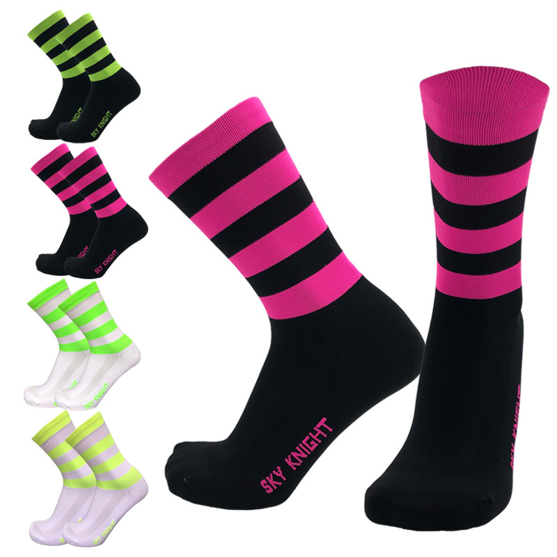 SKYKNIGHT New Compression Striped Cycling Socks Men Women Sports Running Socks Bicycle Bike Socks